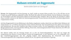 Ruhrnachrichten Werne 27. April 2018